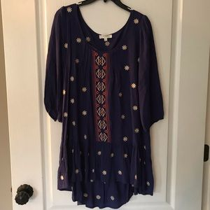 Umgee USA blue cream & coral tunic top